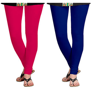 Pink and Royal Blue Cotton Lycra Leggings for Womem(Pack of 2)