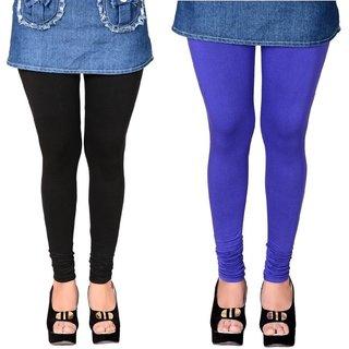Black and Royal Blue Cotton Lycra Leggings for Women(Pack of 2)