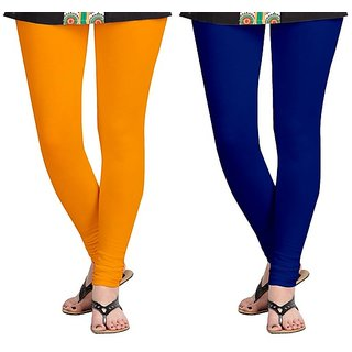 Orange and Royal Blue Cotton Lycra Leggings for  Women(Pack of 2)