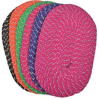 Pack of 6 Weaved Multicolor Cotton Door Mats (Set of 6) (23X15cm)