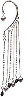 Lucky Jewellery Silver Earcufs Partywear Tassled With Chain Heart One Piece