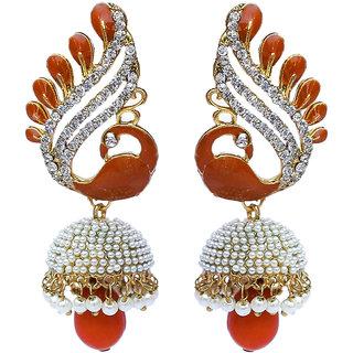 Lucky Jewellery Pearl & Stone Peacock LCT Meenakari Jhumki Earring