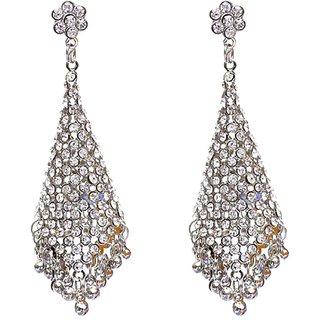Lucky Jewellery Silver Tone White Stone Partywear Jhumki Earring