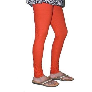 Orange Cotton Lycra Leggings