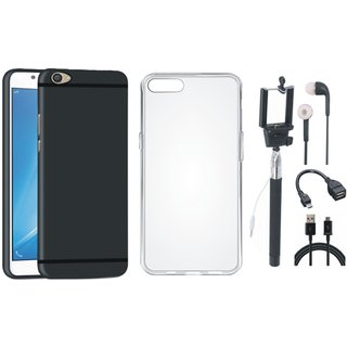 Oppo F3 Soft Silicon Slim Fit Back Cover with Silicon Back Cover, Selfie Stick, Earphones, OTG Cable and USB Cable