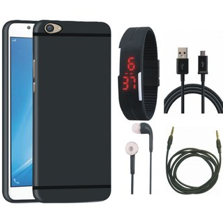 Vivo V5 Plus Soft Silicon Slim Fit Back Cover with Digital Watch, Earphones, USB Cable and AUX Cable