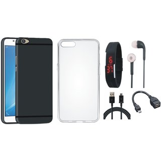 Vivo Y55L Ultra Slim Back Cover with Silicon Back Cover, Digital Watch, Earphones, OTG Cable and USB Cable