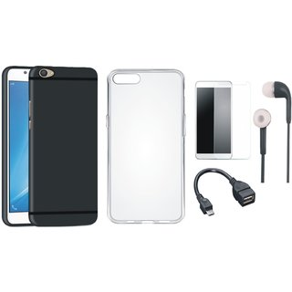 Vivo V5 Plus Soft Silicon Slim Fit Back Cover with Silicon Back Cover, Tempered Glass, Earphones and OTG Cable