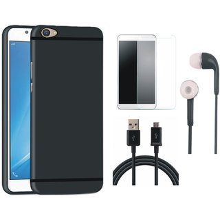 Oppo F3 Soft Silicon Slim Fit Back Cover with Earphones, Tempered Glass and USB Cable