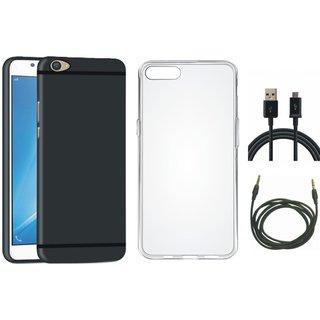 Vivo V5 Plus Soft Silicon Slim Fit Back Cover with Silicon Back Cover, USB Cable and AUX Cable