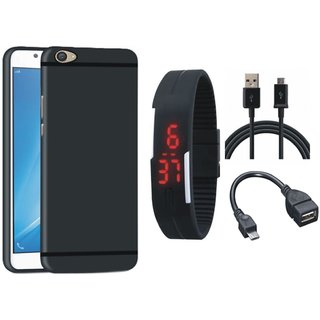 Vivo V3 Soft Silicon Slim Fit Back Cover with Digital Watch, OTG Cable and USB Cable