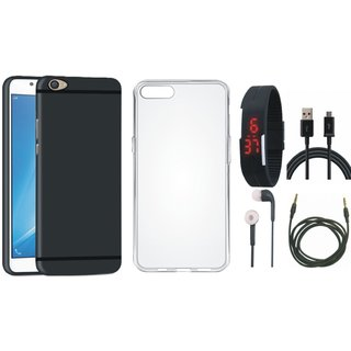 Vivo Y55L Ultra Slim Back Cover with Silicon Back Cover, Digital Watch, Earphones, USB Cable and AUX Cable