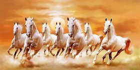 MYIMAGE Seven White Horse Running  Poster (Canvas Cloth Print, 31cm x 46cm)
