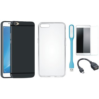 Vivo V5 Plus Soft Silicon Slim Fit Back Cover with Silicon Back Cover, Tempered Glass, USB LED Light and OTG Cable