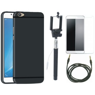 Oppo F3 Soft Silicon Slim Fit Back Cover with Free Selfie Stick, Tempered Glass and AUX Cable