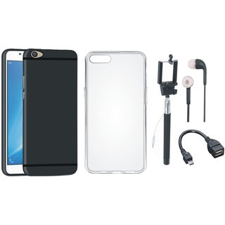 Oppo F3 Soft Silicon Slim Fit Back Cover with Silicon Back Cover, Selfie Stick, Earphones and OTG Cable