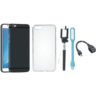 Oppo F3 Soft Silicon Slim Fit Back Cover with Silicon Back Cover, Selfie Stick, LED Light and OTG Cable