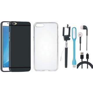 Oppo F3 Soft Silicon Slim Fit Back Cover with Silicon Back Cover, Selfie Stick, Earphones, USB LED Light and USB Cable