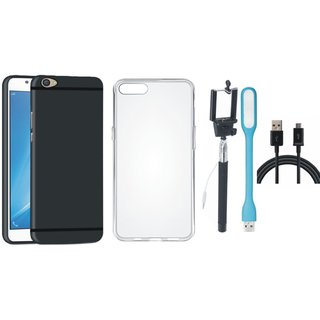 Oppo F3 Soft Silicon Slim Fit Back Cover with Silicon Back Cover, Selfie Stick, USB LED Light and USB Cable