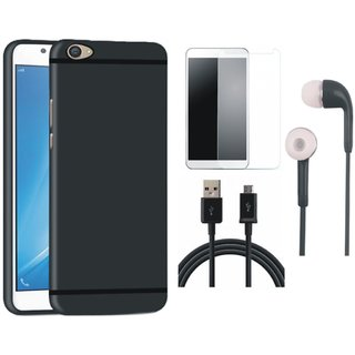 Vivo V3 Soft Silicon Slim Fit Back Cover with Tempered Glass, Earphones and USB Cable