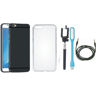 Oppo F3 Soft Silicon Slim Fit Back Cover with Silicon Back Cover, Selfie Stick, USB LED Light and AUX Cable
