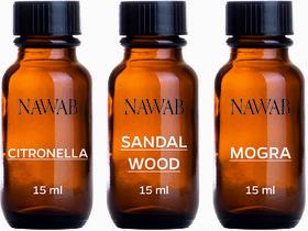 NAWAB essential aroma Diffuser oil(Citronella,Sandalwood,Mogra-15ml each)