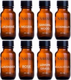 NAWAB Set of 8 essential aroma Diffuser oil(Lavender,Lemongrass,Rose,Jasmine,citronella,Eucalyptus,Sandalwood,Mogra-15ml each)