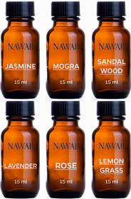 NAWAB Set of 6 essential aroma Diffuser oil (Lavender,Lemongrass,Rose,Jsamine,Sandalwood,Mogra-15ml each)