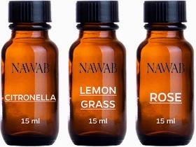 NAWAB essential aroma Diffuser oil(Citronella,Lemongrass,Rose-15ml each)