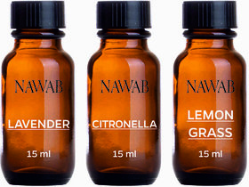 NAWAB essential aroma Diffuser oil(Citronella,Lavender,Lemongrass-15ml each)
