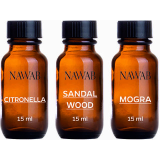 NAWAB essential aroma Diffuser oil(Citronella,Sandalwood,Mogra-15ml each)