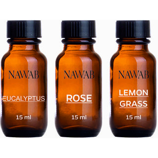 NAWAB essential aroma Diffuser oil(Eucalyptus,Lemongrass,Rose-15ml each)