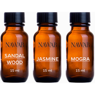 NAWAB essential aroma Diffuser oil(Jasmine,Sandalwood,Mogra-15ml each)