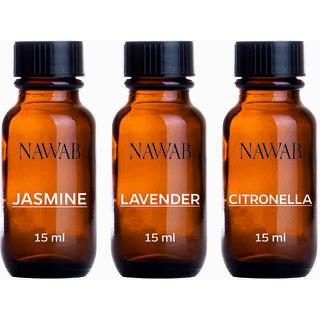 NAWAB essential aroma Diffuser oil(Lavender,Jasmine,Citronella-15ml each)