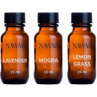 NAWAB essential aroma Diffuser oil(Mogra,Lavender,Lemongrass-15ml each)