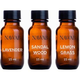 NAWAB essential aroma Diffuser oil(Sandalwood,Lavender,Lemongrass-15ml each)