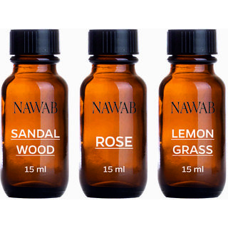 NAWAB essential aroma Diffuser oil(Sandalwood,Lemongrass,Rose-15ml each)