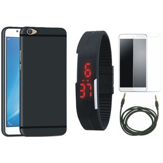 Vivo Y55 Soft Silicon Slim Fit Back Cover with Free Digital LED Watch, Tempered Glass and AUX Cable