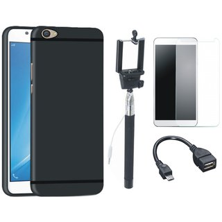 Vivo Y55 Soft Silicon Slim Fit Back Cover with Free Selfie Stick, Tempered Glass and OTG Cable
