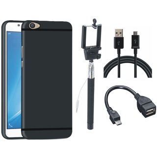 Vivo Y55 Soft Silicon Slim Fit Back Cover with Selfie Stick, OTG Cable and USB Cable