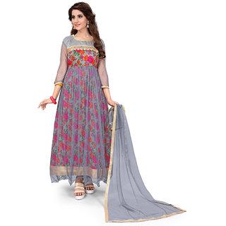 Aika Women's  Bhagalpuri Printed Anarkali Salwar suit (Free SizeCream)SS043-Wonder Grey