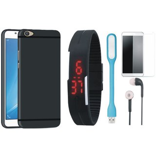 Vivo Y55 Soft Silicon Slim Fit Back Cover with Free Digital LED Watch, Tempered Glass, LED Light and Earphones