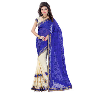 Fashions World Blue Georgette Embroidered Saree With Blouse