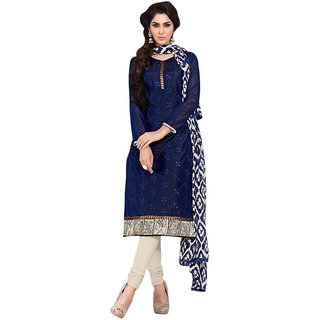 Fashions World Blue Chanderi Embroidred Dress Material