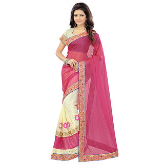 Fashions World Pink Georgette Embroidered Saree With Blouse