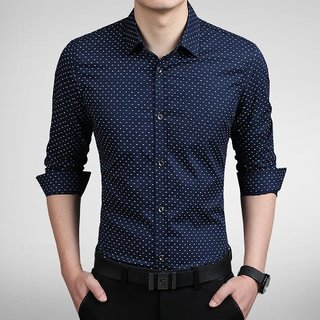 Tom T Dot Navy Blue Printed Cotton Shirt For Men