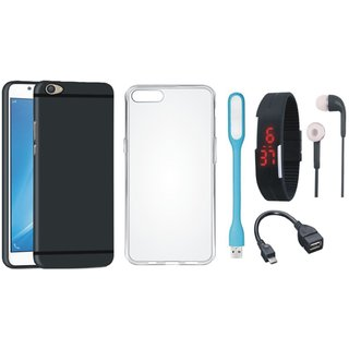 Vivo Y55 Soft Silicon Slim Fit Back Cover with Silicon Back Cover, Digital Watch, Earphones, USB LED Light and OTG Cable