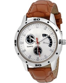 Round Dial Brown Leather Strap Quartz Watch For Men  6