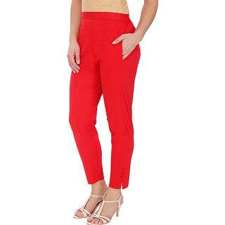 Red Cotton Pants for Women
