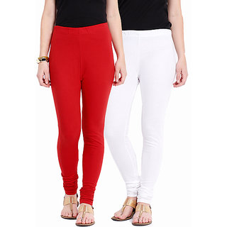 Red and White Cotton Lycra Leggings for Women(Pack of 2)